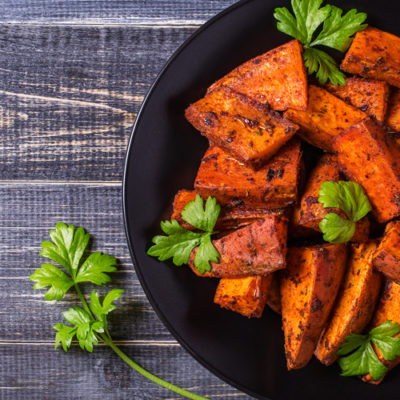 Cinnamon Pear Roasted Sweet Potatoes