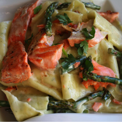 Grilled Wild Salmon and Asparagus in Wild Dill Olive Oil-Lemon Cream Sauce over Dill Infused Pappardelle