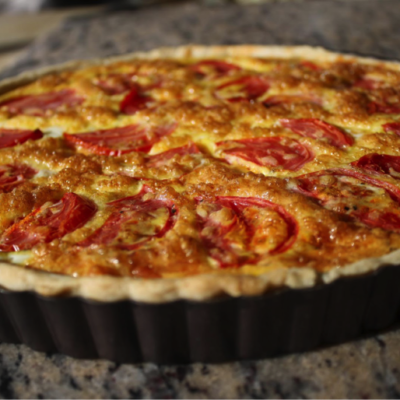 Oven Roasted Tomato Quiche with  Extra Virgin Olive Oil Pastry Crust