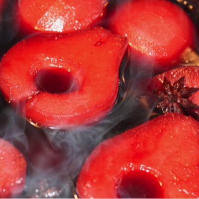 Red Wine & Aged Vanilla Balsamic Poached Pears With Honey Cinnamon Mascarpone