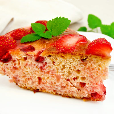 Roasted Almond & Lemon Cake with Strawberry Preserves