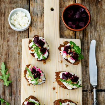 Crostini with Goat Cheese Black Currant Balsamic Reduction