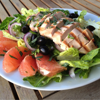 Grilled Chicken with Basil & Grapefruit Salad