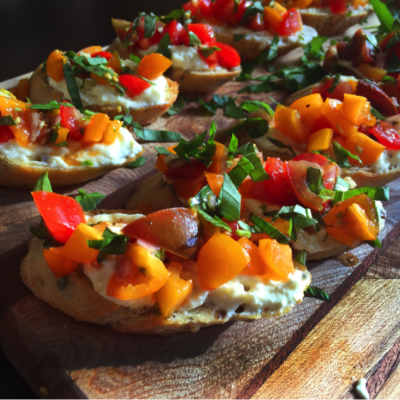 Italian Herb Crostinis with Whipped Cream Cheese