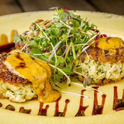 Crab Cakes with Honey and Pepper Balsamic Glaze