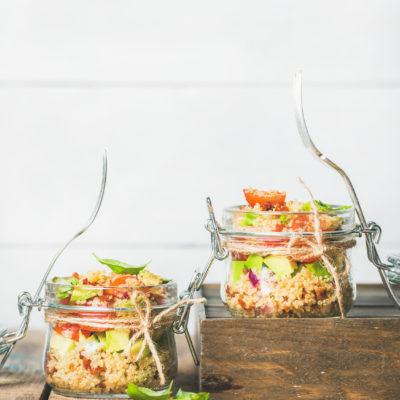 Quinoa with Tomato and Avocado Basil Salad