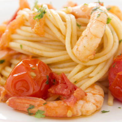 Red Pesto Shrimp Pasta