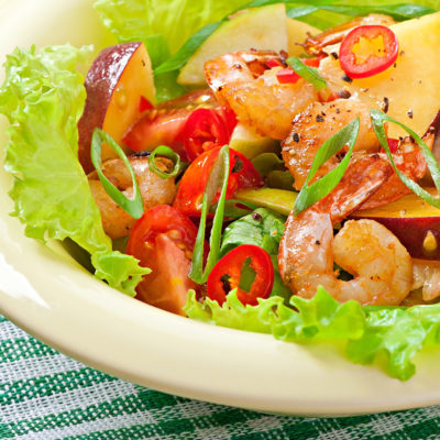 Shrimp and Peach Salad with smoked Paprika Dressing
