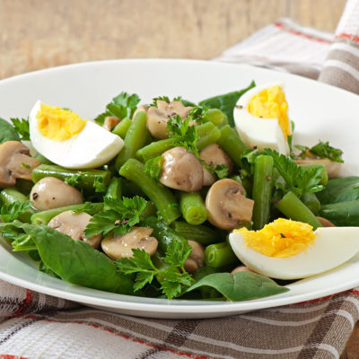 Warm Spring Salad with Basil Chimichurri and Soft Boiled Eggs
